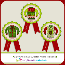 ugly christmas sweater party printable voting ballots and sign