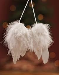 3 1 2 white feather wings with ornament hanger