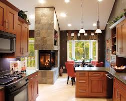 kitchen fireplace design ideas see through fireplace between dining and living room kitchen