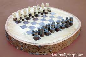 buy chess set buy a custom made rustic wood log chess set made to order from that
