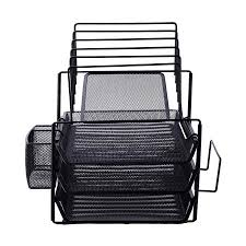 all in one desk organizer vencer all in one black wire mesh desk organizer walmart com