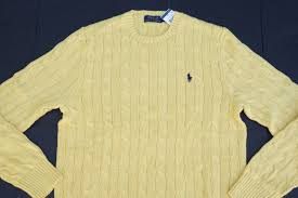 cable sweater polo ralph crewneck 100 cotton yellow pony cable sweater xl