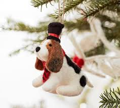 felt basset hound with top hat ornament pottery barn