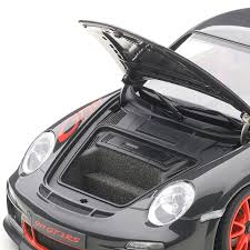black porsche 911 gt3 porsche 911 997 gt3 rs grey black u0026 red stripes auto art