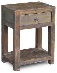Reclaimed Wood End Table With Drawer Rustic Side Tables And Accent