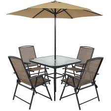 Outdoor Patio Dining Sets With Umbrella Best Choice Products 6pc Outdoor Folding Patio Dining Set W Table 4