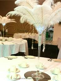 giant martini great gatsby martini glass centerpiece with ostrich plumes