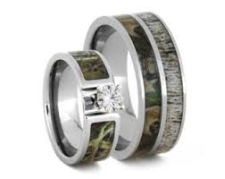 camouflage wedding rings unique deer antler wedding ring set women s diamond and