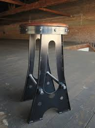 Metal Bar Stools With Wood Seat Vintage Industrial Metal Bar Stool In Black Finished With Round