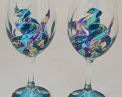 painted wine glasses etsy