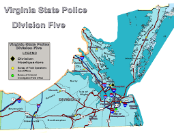 Virginia State Map Virginia State Police Office Locations Division 5