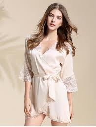 robe de chambre beige dentelle lepeignoir fr