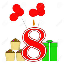 number eight candle meaning eighth birthday or celebration