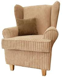 Upright Armchairs Beige Jumbo Cord Queen Anne Design Wing Back Fireside High Back