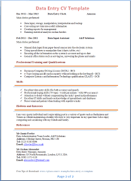 Data Encoder Resume Data Entry Cv Template Tips And Download U2013 Cv Plaza