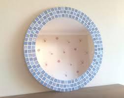 Mosaic Bathroom Mirrors by Large Round Mosaic Mirror In Shades Of Blue 50cm Bathroom