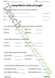 measuring units worksheet using metric units of length worksheet teaching resource teach
