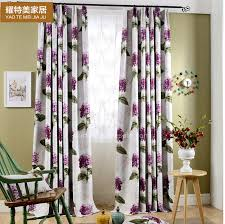 Thick Purple Curtains Thick Polyester Purple Floral Pattern Thermal Insulated Curtains