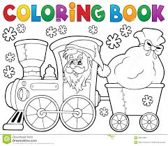 coloring book christmas train 1 stock vector image 59816483