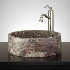 marrow round brown granite vessel sink bathroom