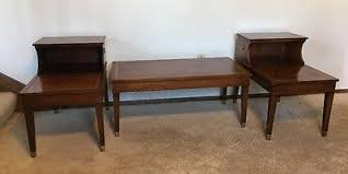 leather top side table vtg columbia mfg leather top table set 2x side tables step