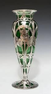 Silver Vase Art Nouveau Green Glass And Silver Overlay Vase Art Nouveau