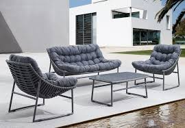 Grey Modern Outdoor Sling Sofa Scenario Home - Modern outdoor sofa