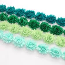 Shabby Flowers Mini Shabby Flower Trim In Teal Green Celery Green And Mint