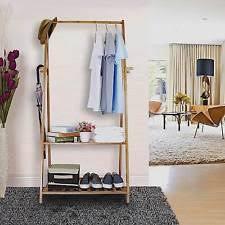 wooden clothes rail hallway open wardrobe stand storage rack unit