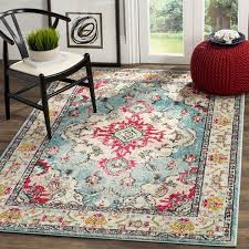 Safavieh Rugs Safavieh Monaco Bohemian Medallion Light Blue Fuchsia Distressed