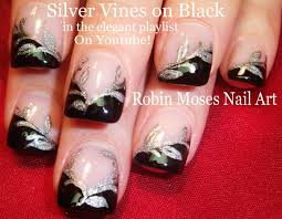 nail art tutorial black u0026 silver nails easy glitter nail