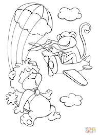 a brave lion is skydiving in the sky while a disorderly monkey on