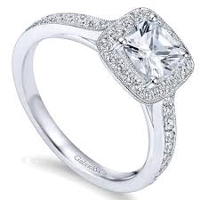 channel engagement ring 14k white gold halo with channel setting 14k white gold
