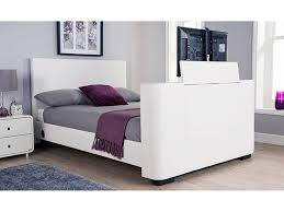 Tv Bed Frames Newark 4ft6 Faux Leather Electric Tv Bed White Co