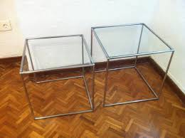 Chrome And Glass Sofa Table Mid Century Minimalist Chrome U0026 Glass Nesting Tables 1960s Set