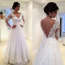 beautiful applique wedding dresses v neck a line tulle low back