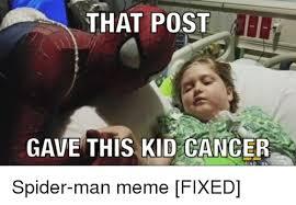 Spiderman Meme Cancer - that post gave this kid cancer 40 86 spider man meme fixed meme on