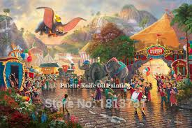 kinkade paintings dumbo giclee canvas paintings spray