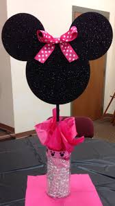 Pink And Black Minnie Mouse Decorations Minnie Mouse Centerpieces First Birthday Decorations Minnie