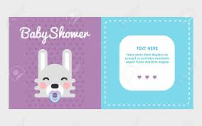 rabbit invitation two side baby shower invitation template with rabbit colored