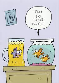 fish in beer pitcher funny humorous birthday card by marian heath