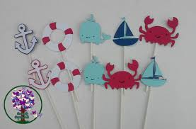 Nautical Theme Baby Shower Decorations - nautical cupcake toppers nautical themed party sea themed baby