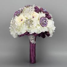 Cheap Fake Flowers Luxurious Purple Crystals Wedding Bouquets With Pearls Hand Made