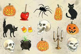 happy halloween transparent background halloween watercolor illustrations illustrations creative market