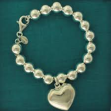 silver bead bracelet with heart images Silver bead bracelet for woman 10mm with heart charm jpg