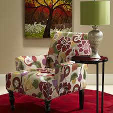 interior colorful floral prints accent chair and end table with