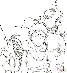 trio from manga anime bleach coloring page free printable