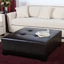 Black Leather Ottoman Square Leather Ottoman Coffee Table Modern Thippo