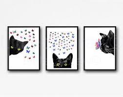 art glass cat ring holder images Black cat art etsy jpg
