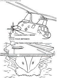 Coloriage helicoptere decollant du porte avion gratuit à colorier